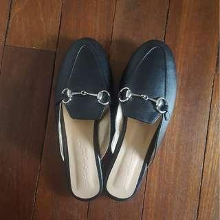 Brand new! The heel project black leather mules