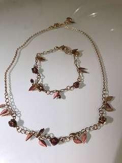 Rose and Gold Rose Necklace and Bracelet Set