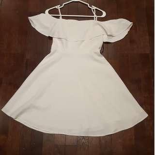 White OTS style flare dress #SwapCA