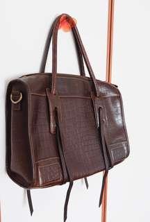 Italian Brown Leather Handbag - Large Size