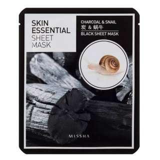 🚚 現貨 韓國 Missha 蝸牛保濕嫩滑黑炭修護面膜 Skin Essential Sheet Mask 木炭