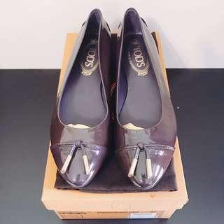 🚚 Tod's 深紫色亮皮平底鞋