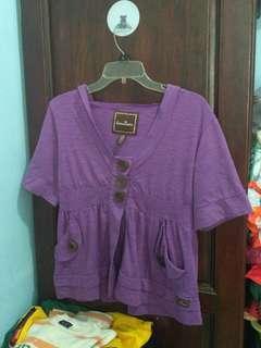 Outerwear hoodie ungu lucu luaran wanitakancing depan