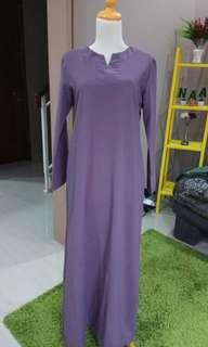 dress crepe ungu ke abu2an