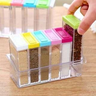 TEMPAT BUMBU DAPUR KOTAK 6 IN 1 SEASONING SET MULTICOLOUR