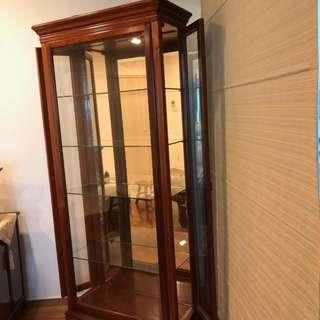 Lacquered Rosewood Corner Display Cabinet