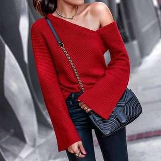 (New) Autumn And Winter Fashion Shoulder Pure Long Sleeve Sweater (Red)