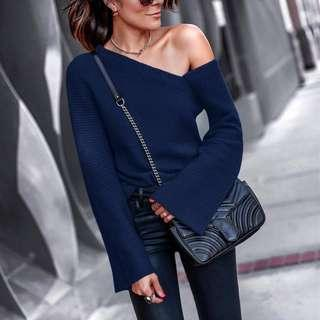 (New) Autumn And Winter Fashion Shoulder Pure Long Sleeve Sweater (Navy)