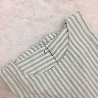 blue grey - white Stripe Top / Blouse