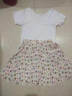 Bundle 1 printed skirt and plain white blouse #lovemarch