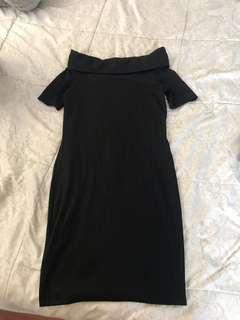 Black Off Shoulder Body Con Dress