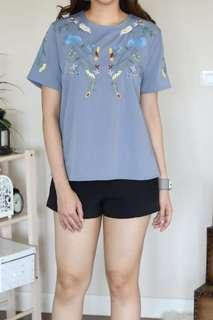 🚚 BN Hachi Chille Floral Embroidery Blouse Top (Blue)