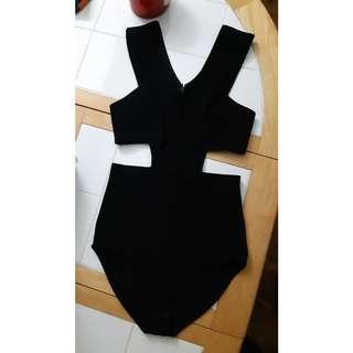 Black cut out bodysuit