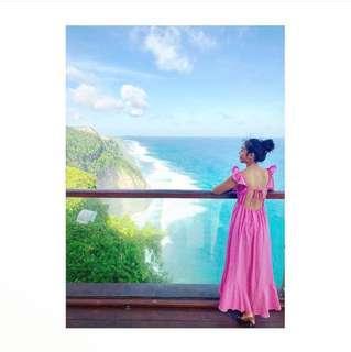 🚚 轉賣) 漢娜自創牌 mercci22 度假露背荷葉邊粉紅色可愛長洋裝 dazzling mikulu
