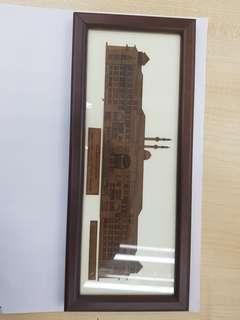 Hand carving wood art with frame