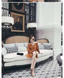 🚚 轉賣)漢娜自創品牌mercci22 平口露肩兩穿露背荷葉邊澎澎洋裝 橘色 褐色 奶茶色 h&m Zara