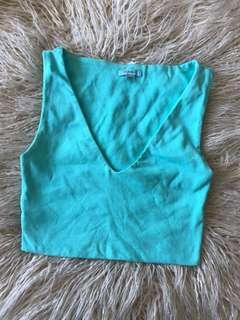 Kookai Crop V Neck Aqua Blue Top