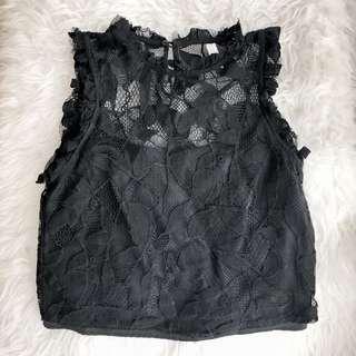 Zara Hnm Topshop Black Lace Top