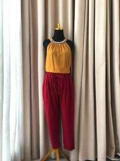 Zara topshop style Yellow Mustard embelished top atasan pesta