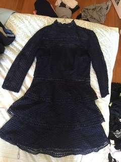 Navy crotchet dress