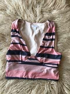 Kookai Pink stripe crop top