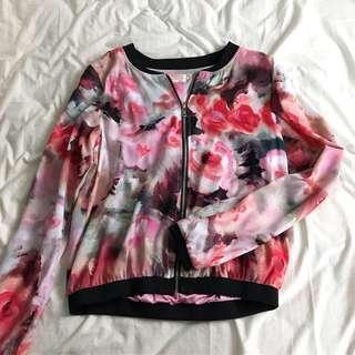 Floral Pink Bomber Jacket