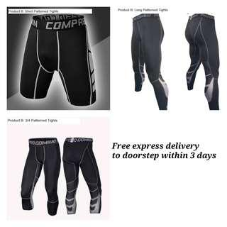 Pro Combat Compression Tights with grey lining shorts 3/4 long pants