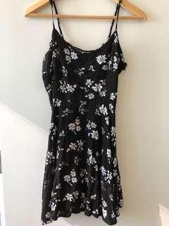 Black Floral Summer Mini Dress