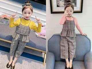 🚚 🌟PM for price🌟 🍀Girl British Style Long Sleeves Top+Plaid Sleeveless Top+Wide Leg Pants+Headband 4pcs Set🍀
