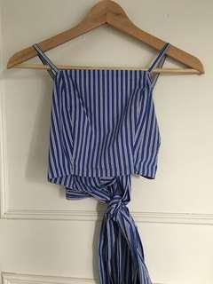 Kaitlyn blue and white stripe crop top tie up