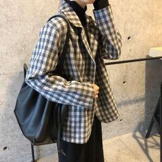 🚚 19春。韓版學院復古 格子寬鬆修身直筒中長款西装外套-Euphoria Store