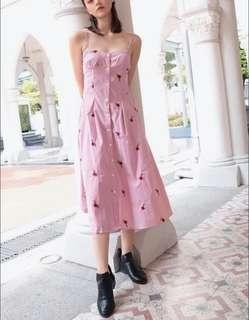 kissablebella flower striped embroidered pink maxi dress