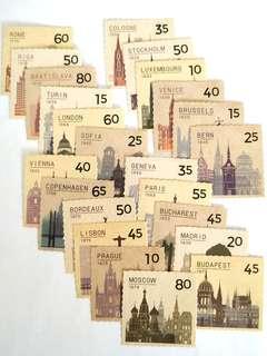 🚚 European city stamps sticker set