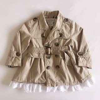 babykids兒童卡其風衣外套 長袖 100cm 附腰帶 花邊造型設計 二手