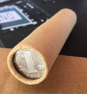 1 jiao coins in a bank roll. 50pcs of uncirculated coins
