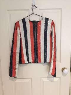 Sequin zip jacket