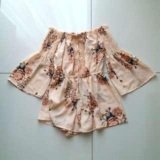 Peach Floral Crochet Off Shoulder Romper