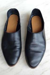Zara real leather black flats size 36