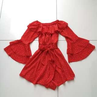 Red Polka Dot Off Shoulder Romper
