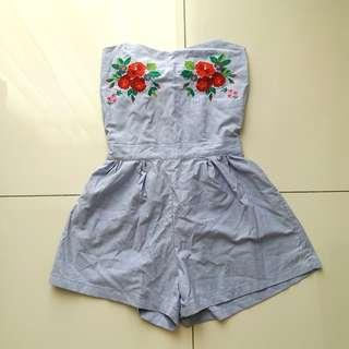 Embroidered Floral Baby Blue Romper with Open Back