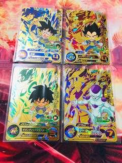 🚚 Dragon Ball heroes - Set of 4 kid Goku/Freiza/Vegeta/Broly