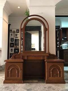 Meja dandan & kursi - vanity dressing table kayu jati