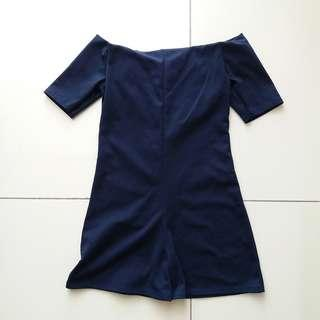 FOC FREE Navy Blue Off Shoulder Romper