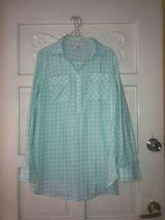 Mint Green Plaid Polo Dress