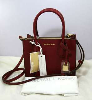 ce8fbc0ab7e1ab Michael Kors Mercer Kors Studio MD Messenger Handbag Leather-CHERRY