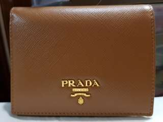 91431b157b6a2e Prada 1MV204 Saffiano Multic Caramel + Sole Bi-fold Wallet