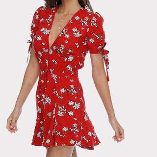 Rue Stiic Brigitte Mini dress in Rouge Floral - Size M/10 RRP $150