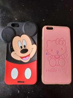 Softcase hp iphone 6+ mickey and hello kitty
