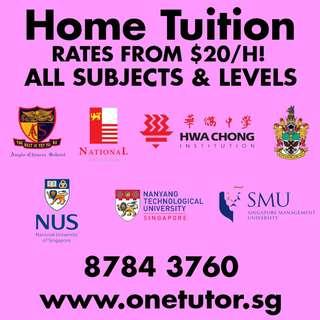 Tuition for K2 Pri Sec JC English Math Science Chinese