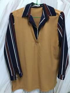 🚚 韓風藍條紋棕色長版衣